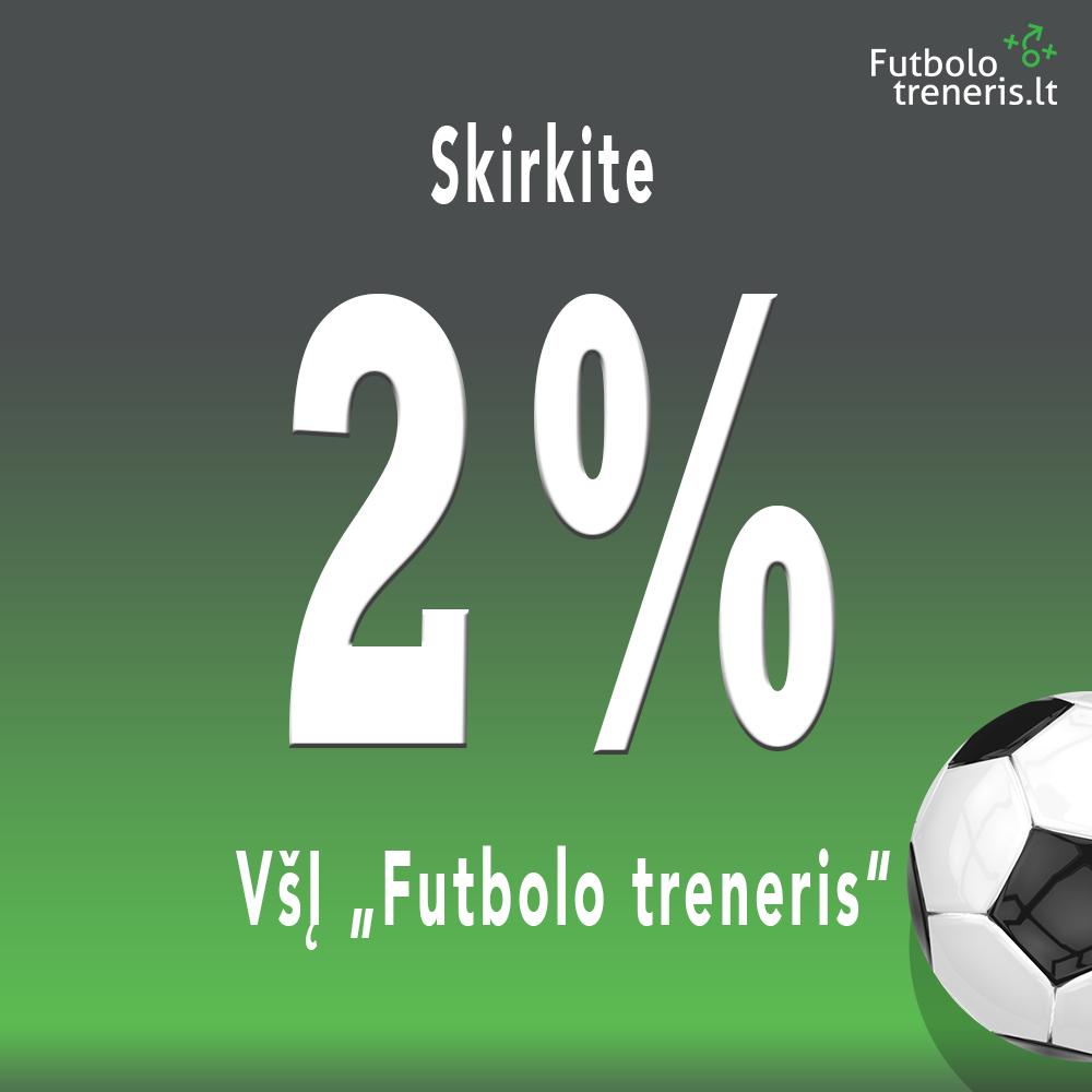 2 procentai futbolui