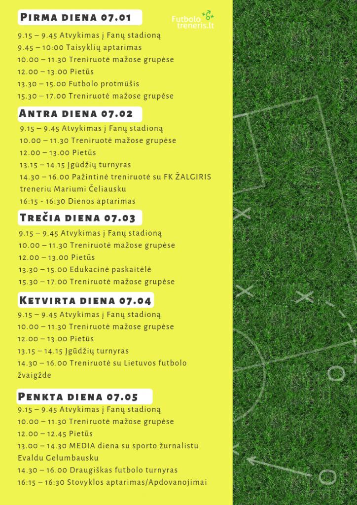Futbolo Dienos stovyklos dienotvarkė